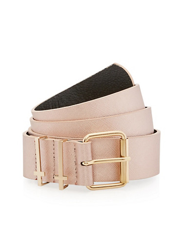 Plus Size Faux Leather Belt with Cross Loop Detail,ROSE,large