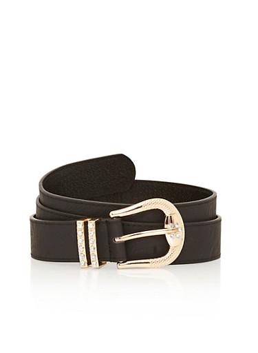 Plus Size Faux Leather Rhinestone Encrusted Belt,BLACK,large