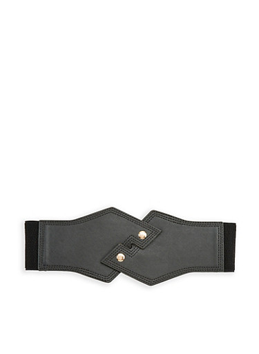 Interlocking Faux Leather Waist Belt,BLACK,large