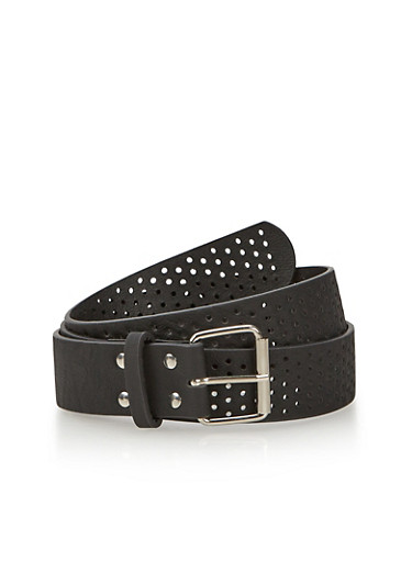 Plus Size Belt in Perforated Faux Leather,BLACK,large