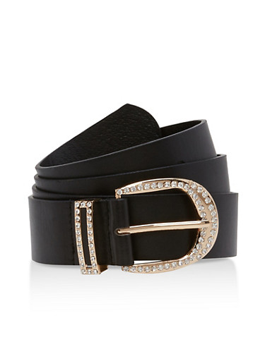 Plus Size Rhinestone Buckle Belt,BLACK,large