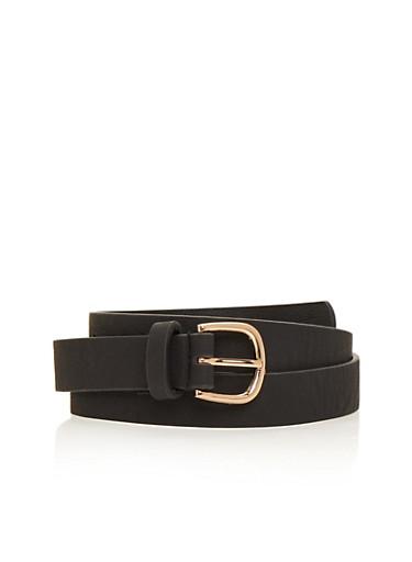 Basic Skinny Faux Leather Belt,BLACK,large