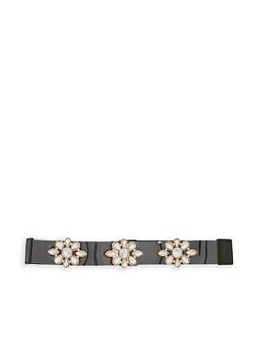 Jeweled Clear Band Waist Belt,BLACK/GOLD,large