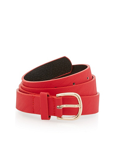 Textured Faux Leather Skinny Belt,RED/GOLD,large