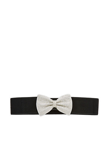Rhinestone Bow Waist Belt,BLACK,large