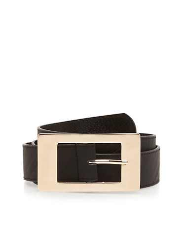 Square Metal Buckle Faux Leather Belt,BLACK,large