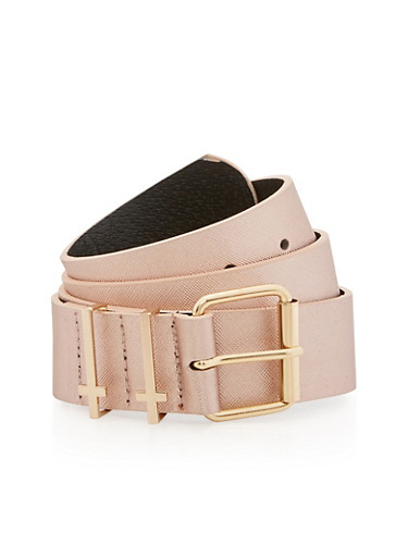 Faux Leather Belt with Cross Belt Loop Detail,ROSE,large