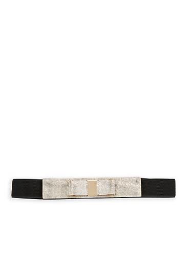 Rhinestone Bow Waist Belt,BLACK/GOLD,large