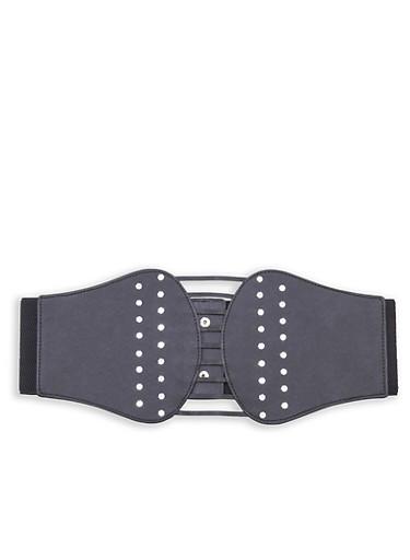 Plus Size Rhinestone Studded Stretch Belt,BLACK,large