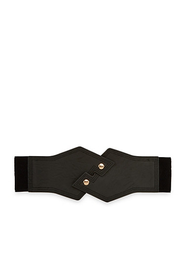Stretch Waist Belt with Faux Leather Snap Front,BLACK,large