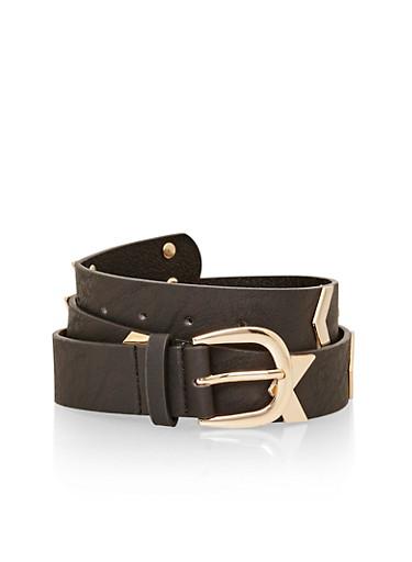Faux Leather Metal Chevron Belt,BLACK,large