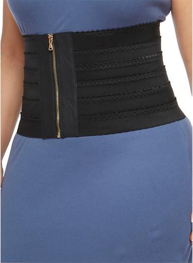Plus Size Zip Wide Waist Stretch Belt,BLACK,large