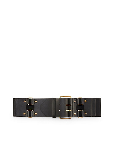 Faux Leather Elastic Waist Belt,BLACK,large