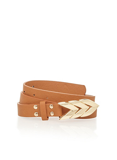 Faux Leather Belt with Goldtone Geometric Buckle,CAMEL/GOLD,large