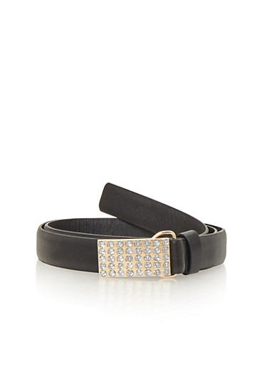Faux Leather Belt with Square Studded Buckle,BLACK,large