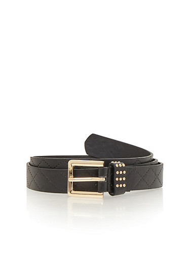 Embosses Faux Leather Belt with Studded Accent,BLACK,large