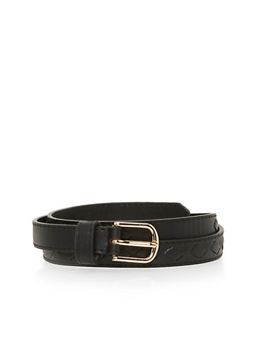 Skinny Faux Leather Center Cut Out Belt,BLACK,large