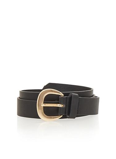 Basic Single Loop Faux Leather Belt,BLACK,large