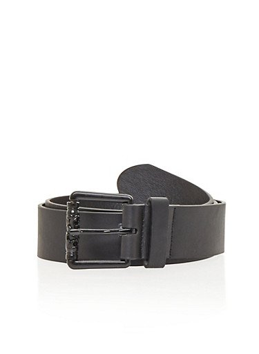 Faux Leather Single Loop Belt with Buckle Detail,BLACK,large