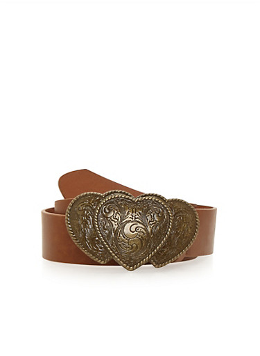 Triple Heart Buckle Faux Leather Belt,COGNAC,large
