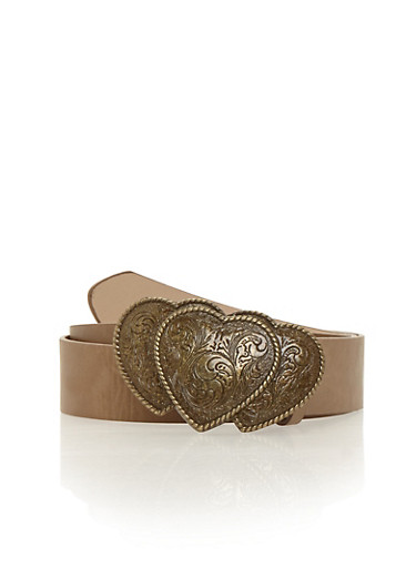 Triple Heart Buckle Faux Leather Belt,TAUPE,large