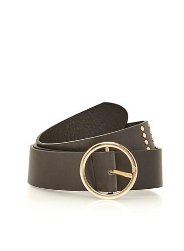 Faux Leather Stud Stripe Belt,BLACK,large