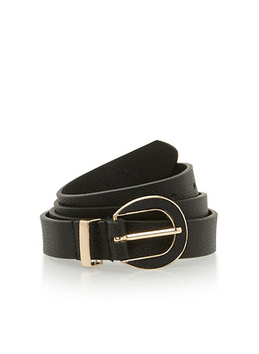 Skinny Faux Leather Belt,BLACK,large