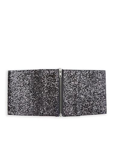 Zip Front Glitter Stretch Waist Belt,BLACK,large