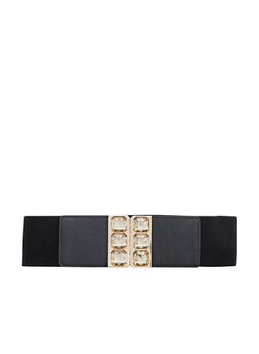 Jeweled Buckle Stretch Waist Belt,BLACK,large