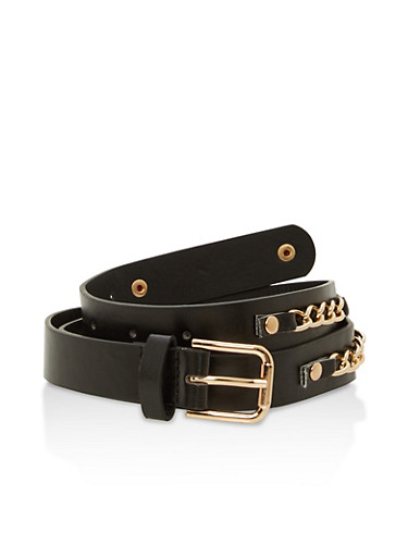Faux Leather Chain Detail Skinny Belt,BLACK/GOLD,large