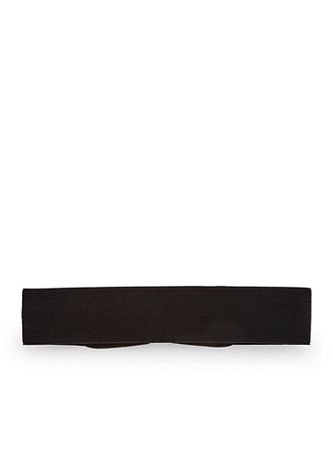 Stretch Waist Belt with Faux Leather Woven Buckle,BLACK,large