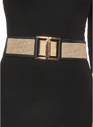 Rhinestone Buckle Stretch Belt,BLACK,large