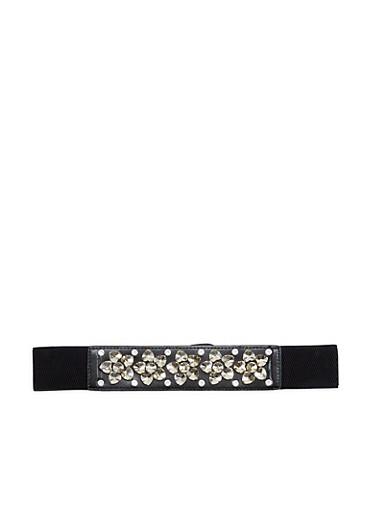 Rhinestone Encrusted Glitter Stretch Waist Belt,BLACK/BLACK,large