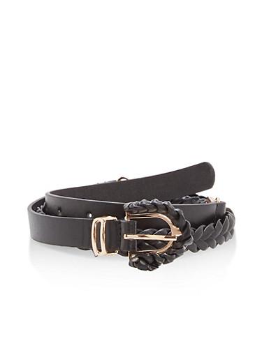 Faux Leather Braided Skinny Belt,BLACK,large