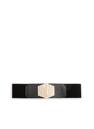 Rhinestone and Faux Pearl Studded Stretch Belt,BLACK/GOLD,large