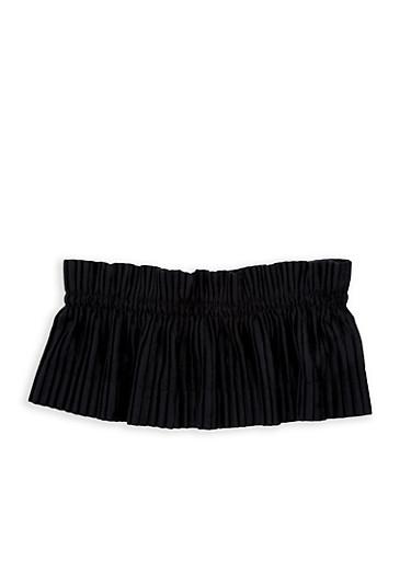 Pleated Velvet Waist Belt,BLACK,large