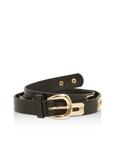 Metallic Detail Faux Leather Skinny Belt,BLACK,large