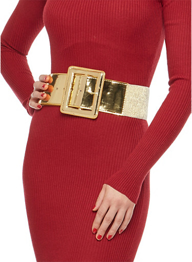 Mirrored Metallic Glitter Waist Belt,GOLD,large