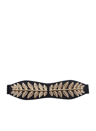 Plus Size Metallic Leaf Detailed Stretch Waist Belt,BLACK/GOLD,large