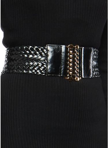 Braided Chain Buckle Waist Belt,BLACK,large