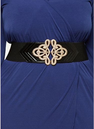 Plus Size Faux Leather Rhinestone Studded Stretch Belt,BLACK/GOLD,large