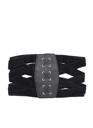 Plus Size Criss Cross Stretch Waist Belt,BLACK,large