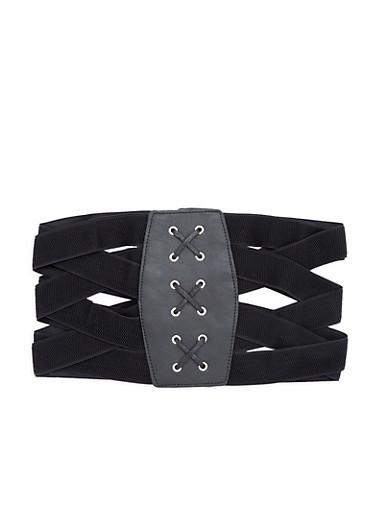 Criss Cross Stretch Waist Belt,BLACK,large