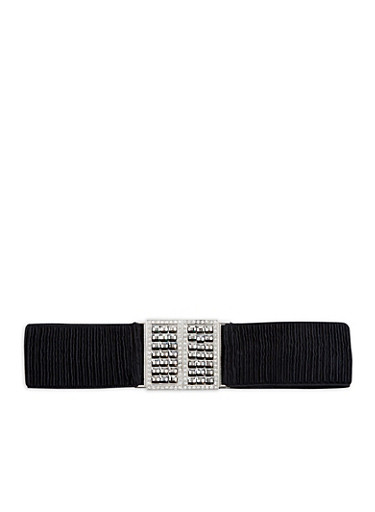 Ruched Jewel Encrusted Buckle Waist Belt,BLACK,large
