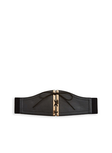 Plus Size Metallic Lace Up Waist Belt,BLACK,large