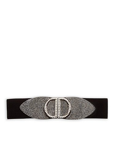 Rhinestone Encrusted Stretch Waist Belt,BLACK,large