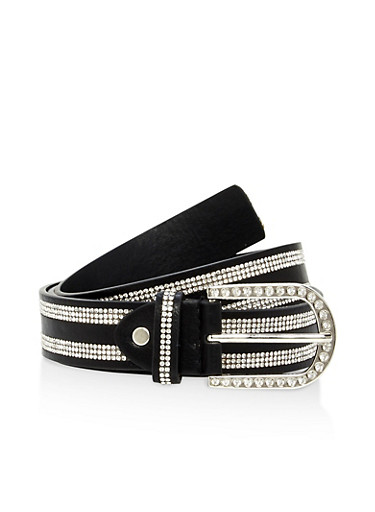 Double Stripe Rhinestone Studded Belt,BLACK/GOLD,large