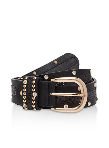 Glitter Stripe Rhinestone Studded Belt,BLACK/GLD,large