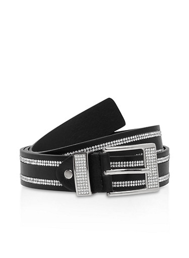 Rhinestone Studded Belt,SILVER/BLACK,large