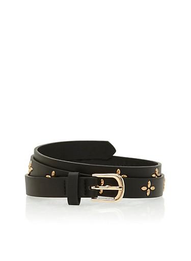 Daisy Studded Faux Leather Belt,BLACK/GOLD,large